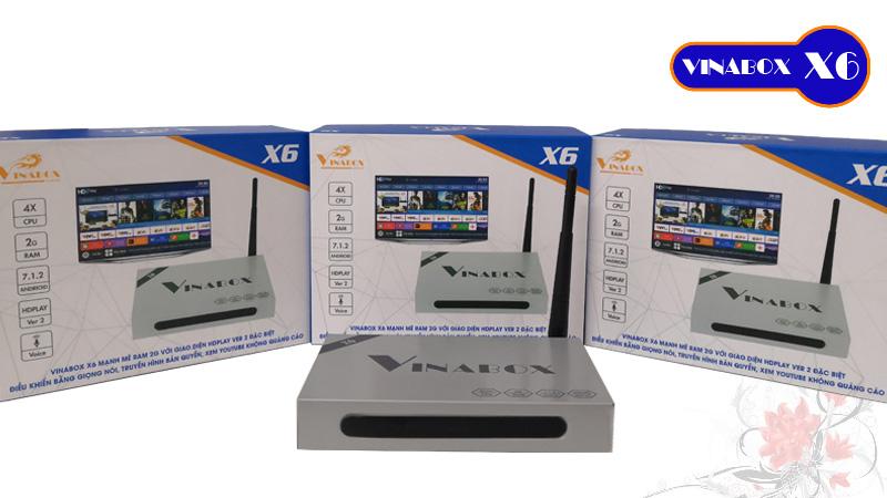 Vinabox X6 – TV Box điều khiển bằng giọng nói, Chip lõi tứ, Ram 2GB, Model 2019